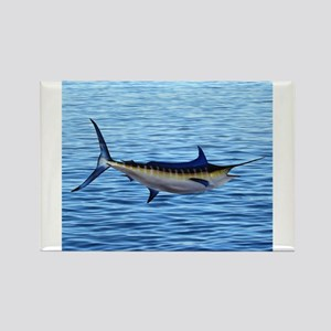 Blue Marlin on Water Rectangle Magnet