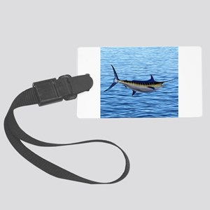 Blue Marlin on Water Large Luggage Tag
