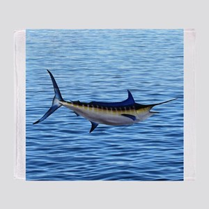 Blue Marlin on Water Throw Blanket