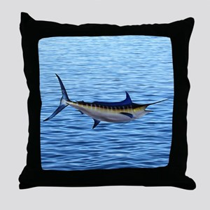 Blue Marlin on Water Throw Pillow