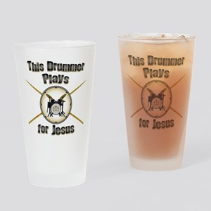 Drum for Jesus Drinking Glass