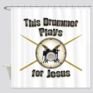 Drum for Jesus Shower Curtain