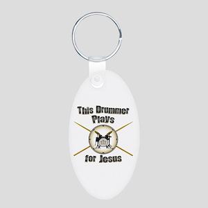 Drum for Jesus Aluminum Oval Keychain