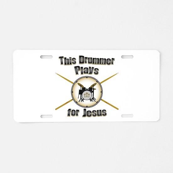 Drum for Jesus Aluminum License Plate