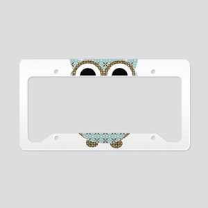 Blue Mod Print Owl License Plate Holder