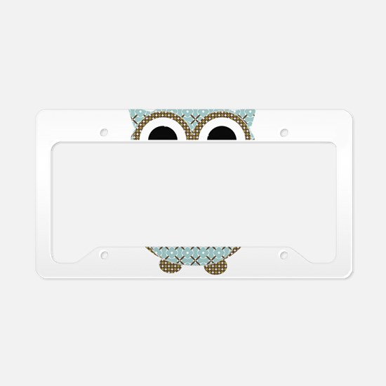 Blue Mod Print Owl License Plate Holder