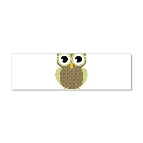Green Brown Mod Owl Car Magnet 10 x 3