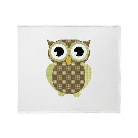 Green Brown Mod Owl Throw Blanket