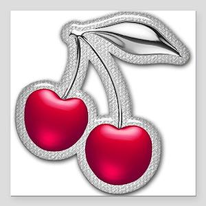 "Glass Chrome Cherries Square Car Magnet 3"" x 3"""