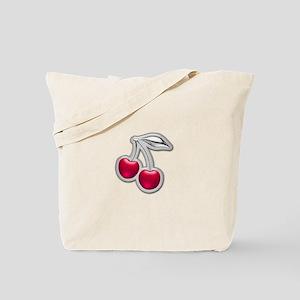 Glass Chrome Cherries Tote Bag