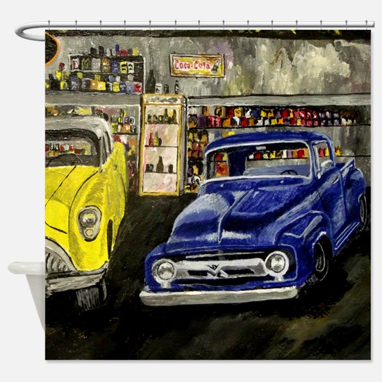 Vintage Truck and Car Shower Curtain