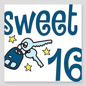 "Sweet 16 Square Car Magnet 3"" x 3"""