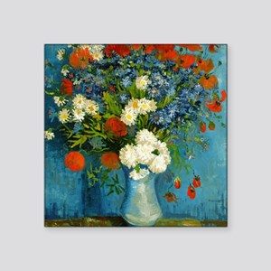 Van Gogh Cornflowers And Poppies Square Sticker 3""