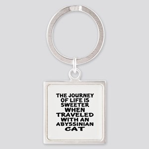 Traveled With abyssinian Cat Square Keychain