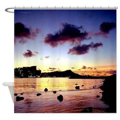 Waikiki Lagoon Sunrise Tropical Shower Curtain