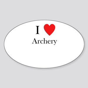 i love archery heart Sticker (Oval)