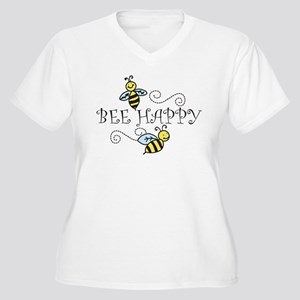 Bee Happy Women's Plus Size V-Neck T-Shirt
