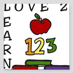 """Love 2 Learn Square Car Magnet 3"""" x 3"""""""
