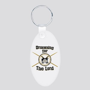 Drumming for the Lord Aluminum Oval Keychain