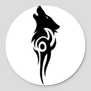 tribal black Round Car Magnet