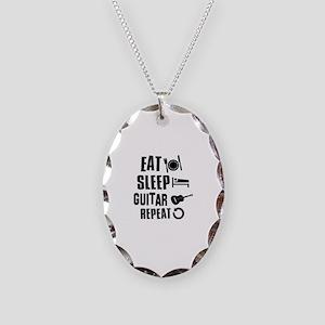 Eat Sleep Guitar Necklace Oval Charm