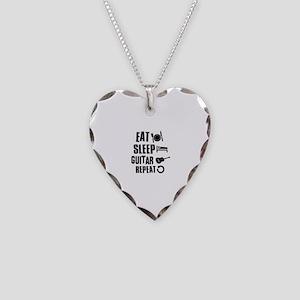 Eat Sleep Guitar Necklace Heart Charm