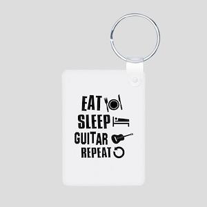 Eat Sleep Guitar Aluminum Photo Keychain