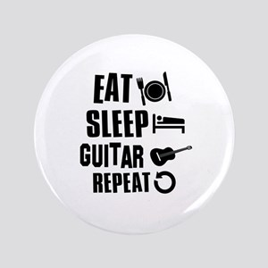 """Eat Sleep Guitar 3.5"""" Button"""
