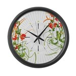 Atom Flowers #7 Large Wall Clock