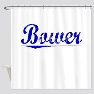 Bower, Blue, Aged Shower Curtain