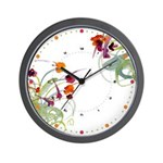 Atom Flowers #24 Wall Clock