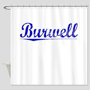 Burwell, Blue, Aged Shower Curtain