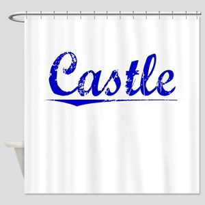 Castle, Blue, Aged Shower Curtain