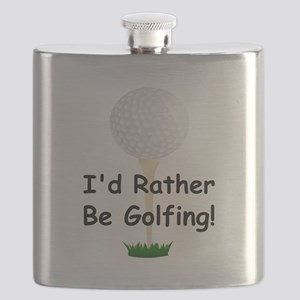 golfball large Id rather be golfing Flask