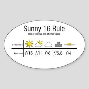 Sunny 16 Rule Sticker (Oval)