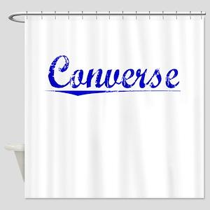 Converse, Blue, Aged Shower Curtain