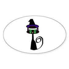 Witchy little cat Sticker (Oval)