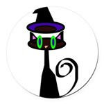 Witchy little cat Round Car Magnet