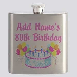 HAPPY 80TH BIRTHDAY Flask