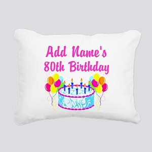 HAPPY 80TH BIRTHDAY Rectangular Canvas Pillow