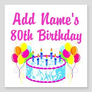 "HAPPY 80TH BIRTHDAY Square Car Magnet 3"" x 3"""