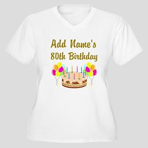 HAPPY 80TH BIRTHDAY Women's Plus Size V-Neck T-Shi