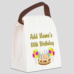 HAPPY 80TH BIRTHDAY Canvas Lunch Bag