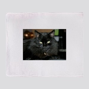 Charlie the black Maine Coon Cat Throw Blanket