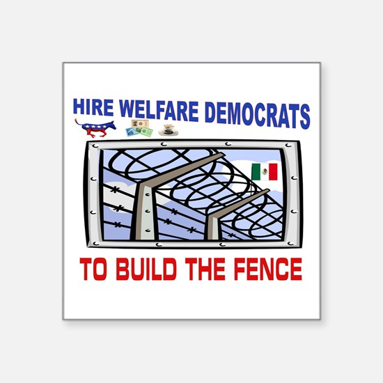 "BORDER FENCE Square Sticker 3"" x 3"""