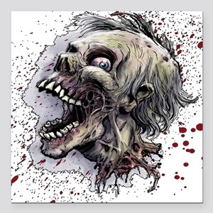 "Zombie head Square Car Magnet 3"" x 3"""