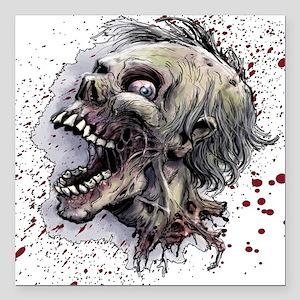 "Zombie head Square Car Magnet 3"" x 3"""