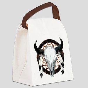 Buffalo skull dream catcher Canvas Lunch Bag