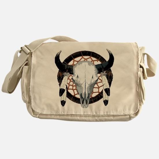 Buffalo skull dream catcher Messenger Bag