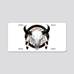 Buffalo skull dream catcher Aluminum License Plate
